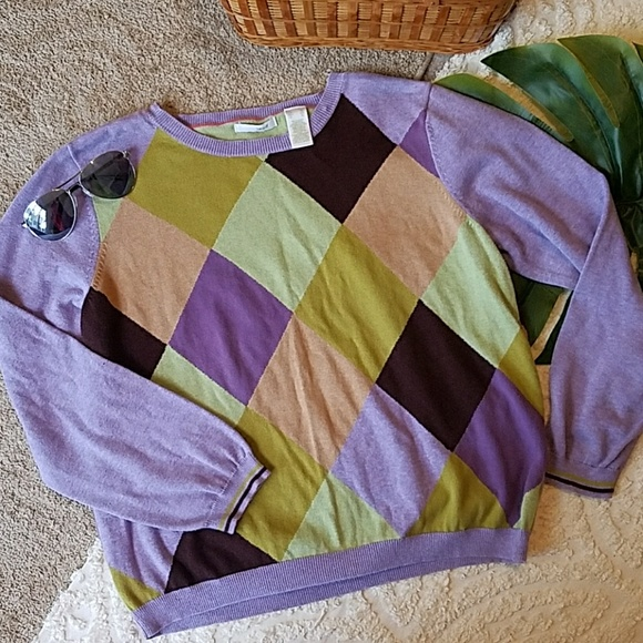 Liz Claiborne Sweaters - Liz golf daimond Argyle Sweater hipster XL